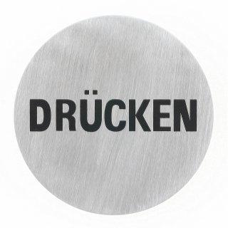 """Häfele Symbol Hinweisschild Türschild """"Drücken"""" 75mm rund Edelstahl matt"""