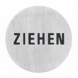 "Häfele Symbol Hinweisschild Türschild ""Ziehen"" 75mm rund Edelstahl matt"