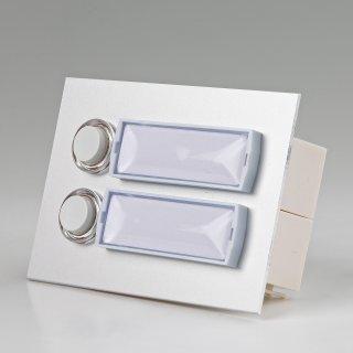Klingeltaster Klingelplatte 2-fach Aluminium silber eloxiert für UP-Montage 101/2