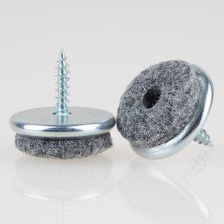 Filzgleiter 24 mm Metall mit Schraube für Holzstühle