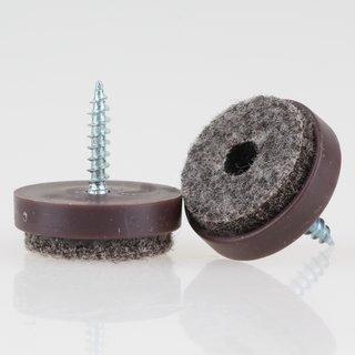 Filzgleiter 24 mm Kunststoff braun mit Schraube für Holzstühle