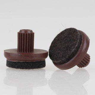 Filzgleiter 24 mm braun mit Zapfen zum Einsetzen in 10 mm Bohrungen