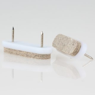 Filzgleiter natur 62x18 mm mit Nagel zum Einschlagen