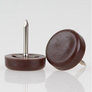 Möbelgleiter 18 mm Kunststoff braun rund mit Nagel zum Einschlagen