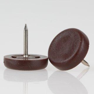 Möbelgleiter 20 mm Kunststoff braun rund mit Nagel zum Einschlagen