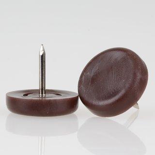 Möbelgleiter 22 mm Kunststoff braun rund mit Nagel zum Einschlagen