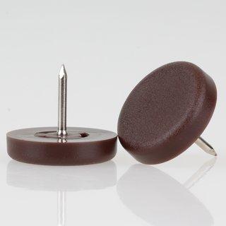 Möbelgleiter 25 mm Kunststoff braun rund mit Nagel zum Einschlagen