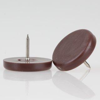 Möbelgleiter 30 mm Kunststoff braun rund mit Nagel zum Einschlagen