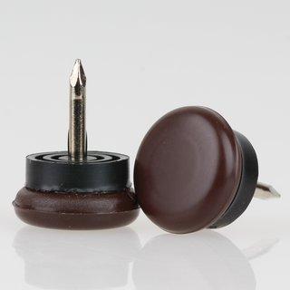 Möbelgleiter 18 mm Kunststoff braun rund mit beweglichem Nagel