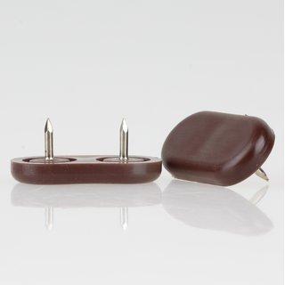 Möbelgleiter 35x18 mm Kunststoff braun mit Nagel zum Einschlagen