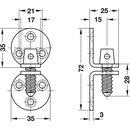 Häfele Hamburger Schrankverschluss Möbelverschluss 35x35mm Messing